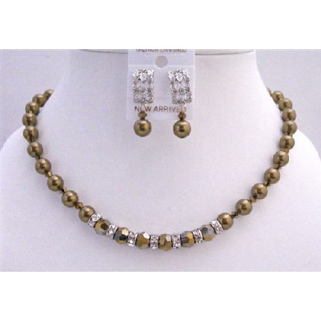 Expresso Pearls Dorado Crystals Handcrafted Bridal Necklace