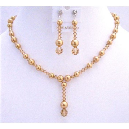 Golden Wedding Jewelry Lite Colorado Crystals Golden Pearls