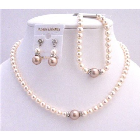 Earrings & Bracelet Bridal Necklace Jewelry Set Ivory Champagne Pearls