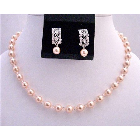 Peach Bridesmaid Pearls & Crystals Custom Necklace Earrings
