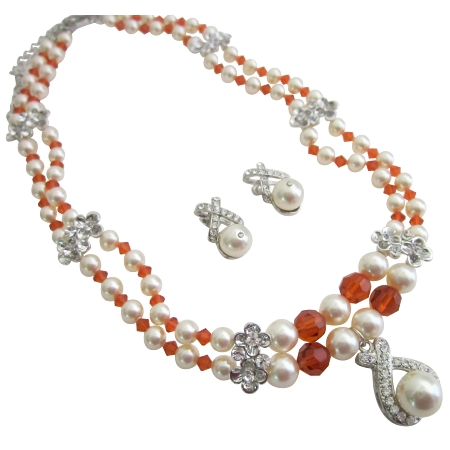Wedding Jewelry Bridal Cream Pearls Burnt Orange Crystals