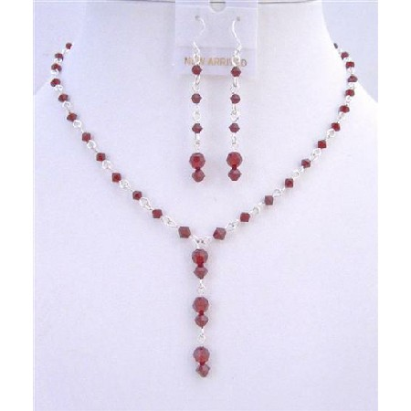 Bridal Handmade Siam Red Crystals Drop Down Necklace Earring