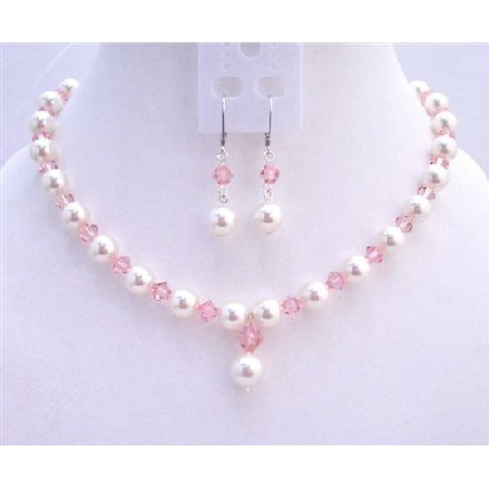 Rose Pink Crystals White Pearls Fashionable Jewerlry