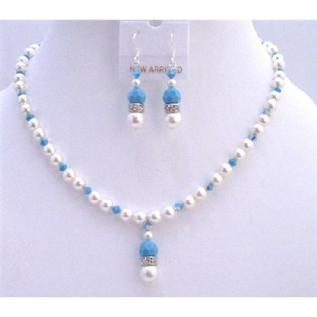 Blue Pool Jewelry White Pearls Turquoise Crystals
