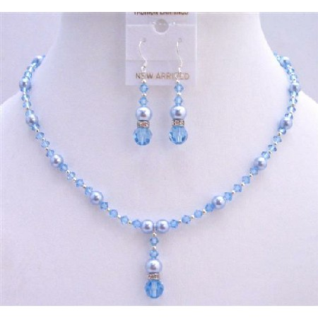 Blue Pearls Aquamarine Crystals Bridal Jewelry Set Jewelry