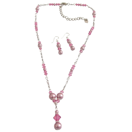 Bridal Pink Crystals Rose Pearls Jewelry Set