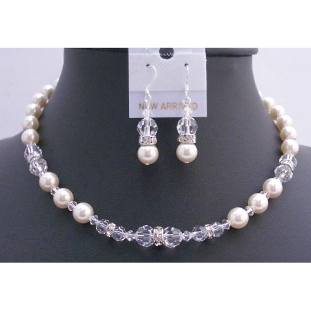 Ivory Pearls Clear Crystals Bridal Jewelry Set w/ Silver Rondells