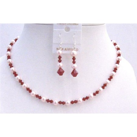 Coral Red Wedding Jewelry Coral Crystals & Rose Pink Pearls