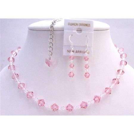Back Drop Heart Bridal Necklace Set Pale Pink Clear Crystals