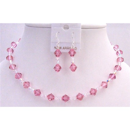 Rose Swarovski Crystals Bridesmaid Bridal Jewelry Set w/ Clear Crystal