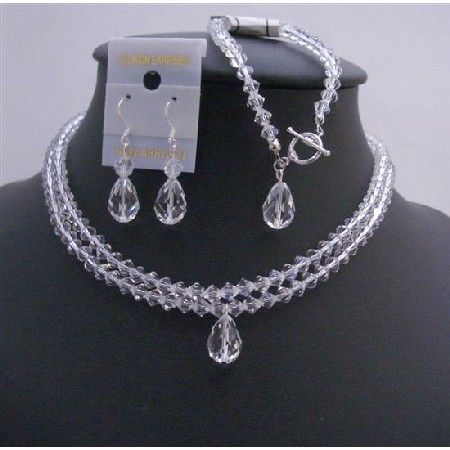 Clear Crystals Double Stranded Bridal Jewelry Set Top Drilled Teardrop