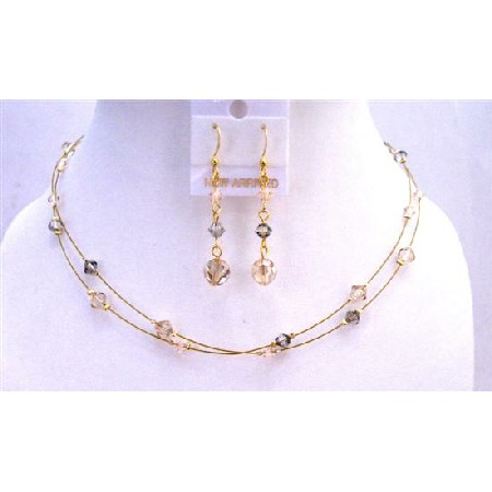 Dainty Bridal Jewelry Golden Shadow Wire Double Stranded Tricolor