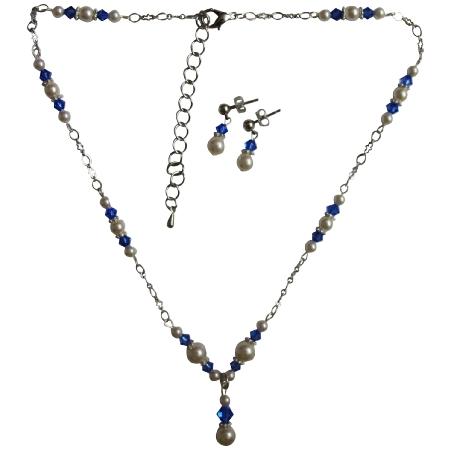 Handmade Jewelry Swarovski White Pearls Sapphire Crystals Set