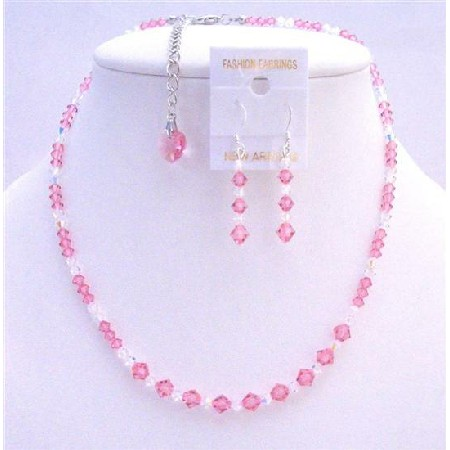 Rose Crystals Bridal Jewelry Clear Crystals Necklace