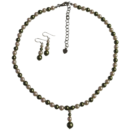 Customize Jewelry made with Green & Ivory Pearls Necklace Set & Drop Down