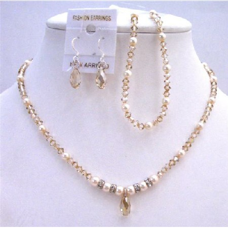 Ivory Pearls & Golden Shaodow Crystals Bridal Jewelry Set