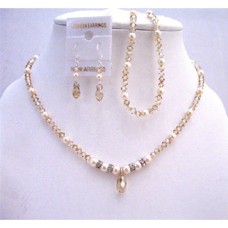 Golden Shadow Crystals Bridal Jewelry Set w/ Ivory Pearls
