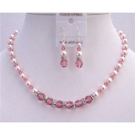 Bridal Custom Jewelry Set Rose Crystals Rose Pearls Necklace