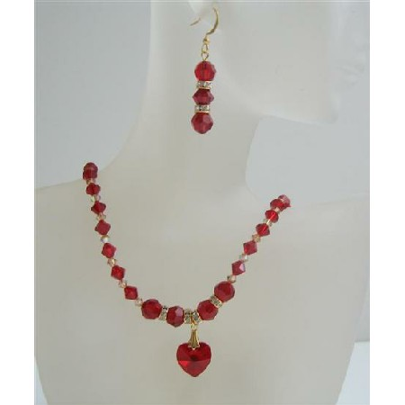 Siam Red Crystals Heart Necklace Set Golden Shaodow Crystals