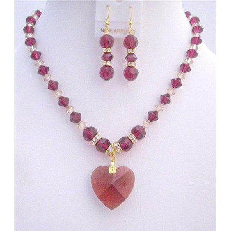Ruby Swarovski Golden Shaodow Swarovski Ruby Crystals Heart Necklace