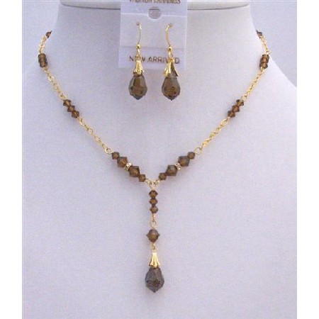 Golden Bridal Necklace Set Smoked Topaz Crystals & Teardrop