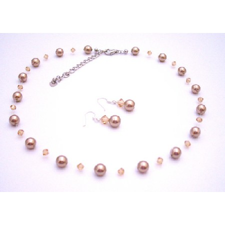 Bronze Lite Colorado Crystals Pearls Bridesmaid Jewelry Set