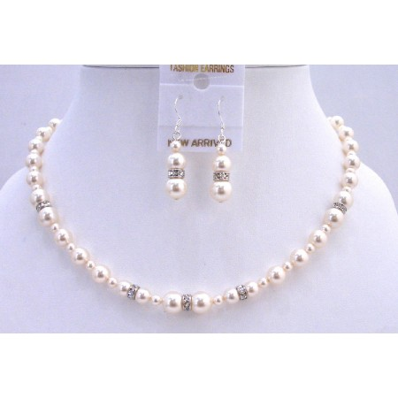 Wedding Handcrafted Ivory Pearls Silver Rondells Jewelry