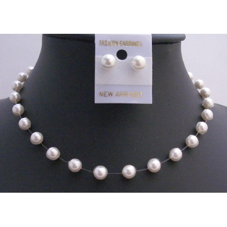 Pure White Pearls 8mm Necklace w/ Stud Earring Jewelry Set