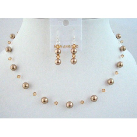 Customize Wedding Swarovski Jewelry Set w/ Bronze Pearl Lite Colorado