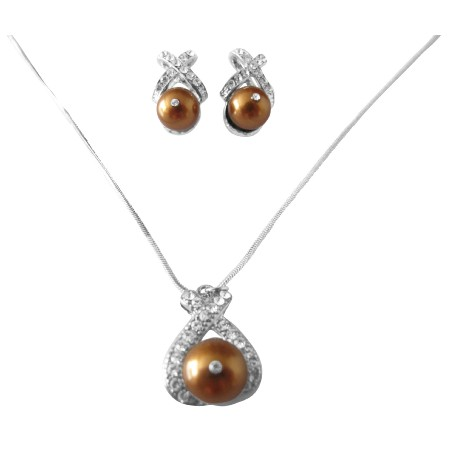 Copper Pearls Stud Earrings Pendant Swarovski Pearls Jewelry Set