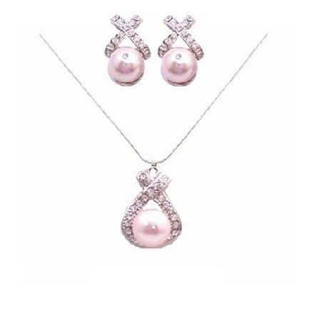 Rose Pink Pearls Pearls Jewelry Set Pendant & Earrings Set