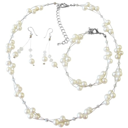 Freshwater Pearls Clear Crystals Bridal Bridesmaid Swarovski Jewelry