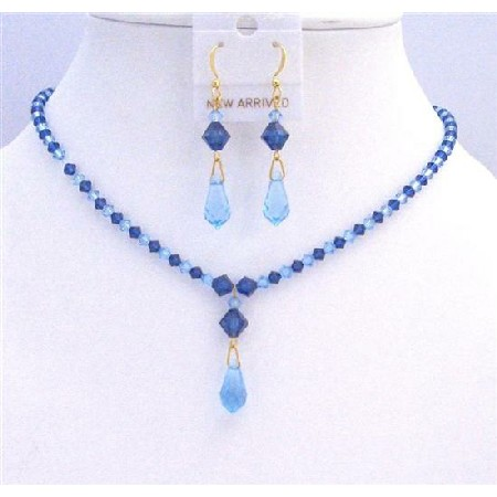 Prom Jewelry Blue Swarovski Crystals Aquamarine Sapphire Crystals Set