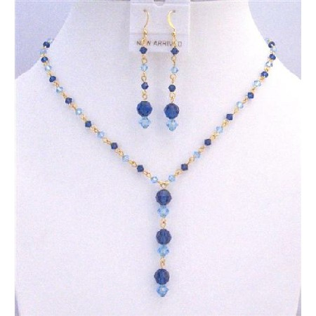 Dainty Gold chain Blue Aquamarine Sapphire Crystals Jewelry