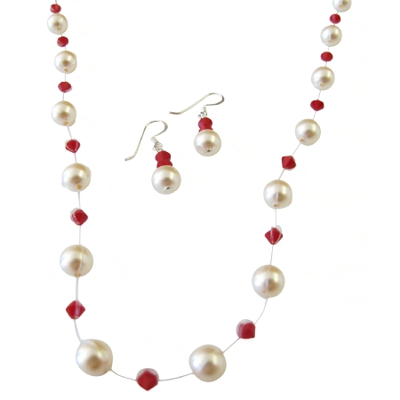 Coral Crystals Ivory Pearls Jewelry Set Invisible Necklace