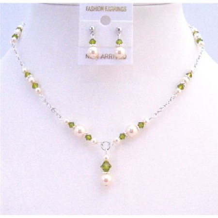 Olivine Crystals Ivory Pearls Jewelry Drop Down Necklace Set