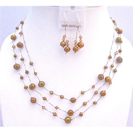 Metallic Brown Freshwater Pearls Smoked Topaz Three Stranded Jewelry