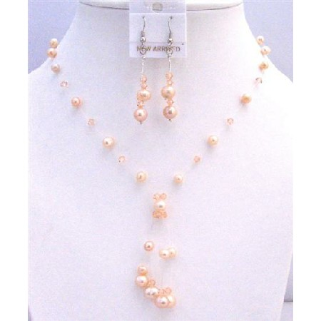 Prom Peach Pearls Crystals Tassel Drop Down Jewelry Set