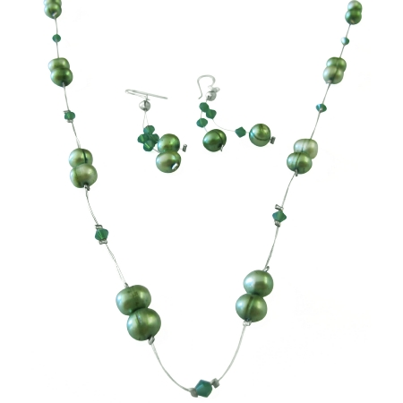 Clover Crystals with Green FreshWater Pearl Prom Jewelry Set