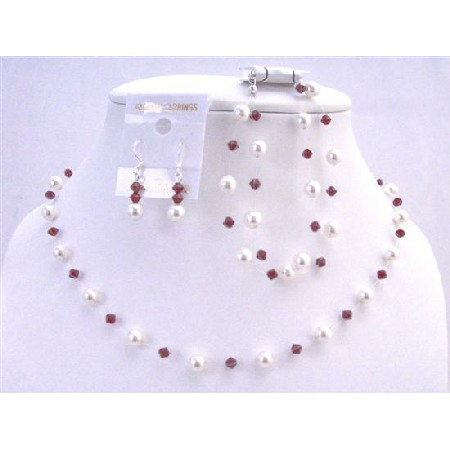 White Pearls Siam Red Crystals Prom Wedding Jewelry Red Set