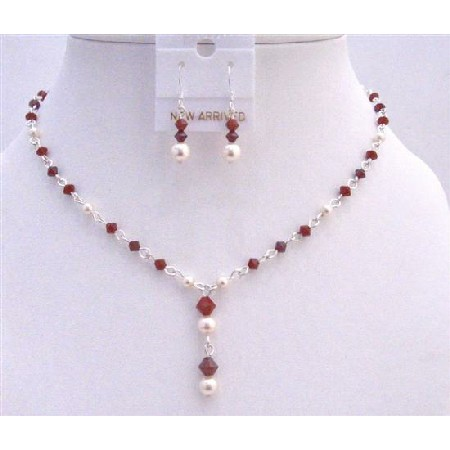 Custom Jewelry Swarovski Ivory Pearls Dark Siam Red Crystals Deep Red