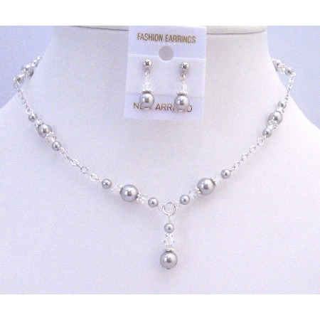 Silver Pearls Clear Crystals Prom Bridal Bridesmaid Jewelry