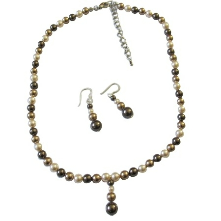 TriColor Bridal Bridesmaid Bronze Brown Ivory Pearls Set