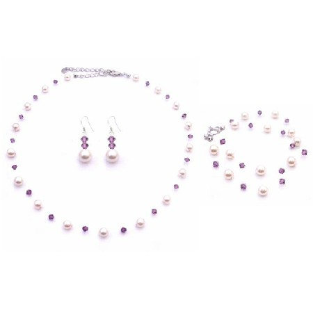 Prom Amethyst Crystals with Ivory Pearls Jewelry Set
