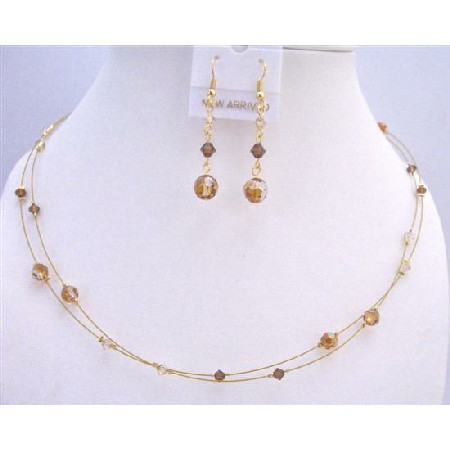 Swarovski Copper Crystals Golden Shadow Smoked Topaz TriColor Necklace