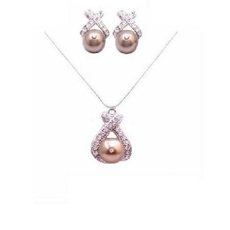 Bronze Pearl Pendant Stud Earrings Rhinestones Handmade Bride Jewelry