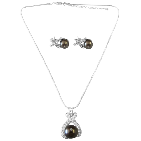Darkest Brown Chocolate Pearls Pendant Earrings Jewelry Set