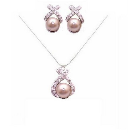 Prom Jewelry Set Champagne Pearls Pendant 10mm Swarovski Necklace Set