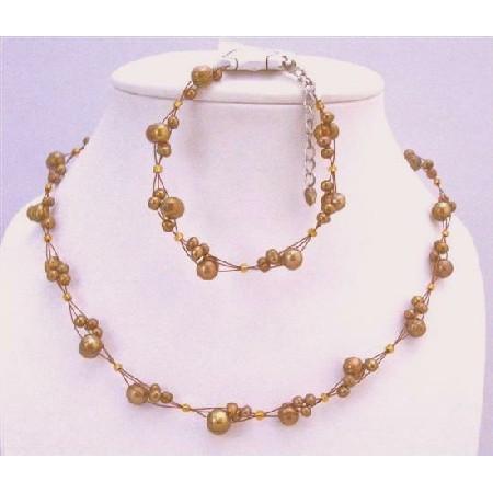 Interwoven Metallic Brown Freshwater Pearls Necklace & Bracelet Set