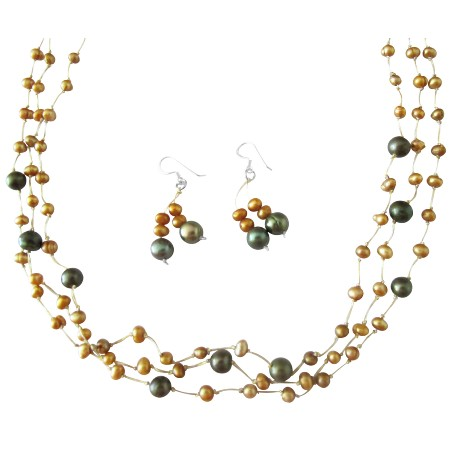 Swarovski Khakhi Crystals Freshwater Pearls Necklace Golden Dark Green